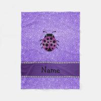 Personalized name purple ladybug purple glitter fleece blanket