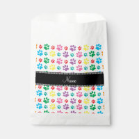 Personalized name rainbow paws favor bag