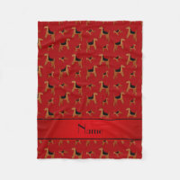 Personalized name red Welsh Terrier dogs Fleece Blanket