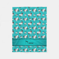 Personalized name turquoise keeshond dogs fleece blanket
