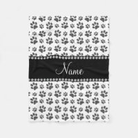 Personalized name white dog paw print fleece blanket