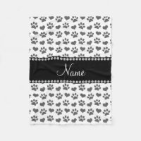 Personalized name white hearts and paw prints fleece blanket