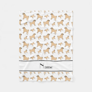 Personalized name white Pug dogs Fleece Blanket