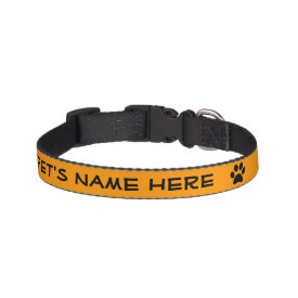 Personalized Orange w/Black Pawprint Pet Collar