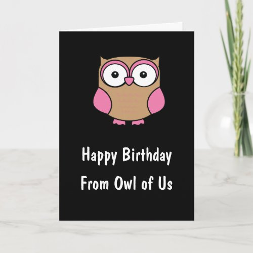 Personalized Owl Birthday Pink Card