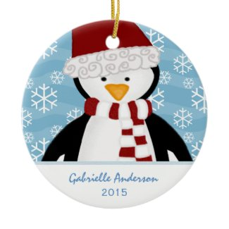 Personalized: Penguin: Christmas Ornament
