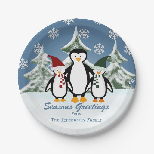 Personalized: Penguin Family Paper Plates 7 Inch Paper
