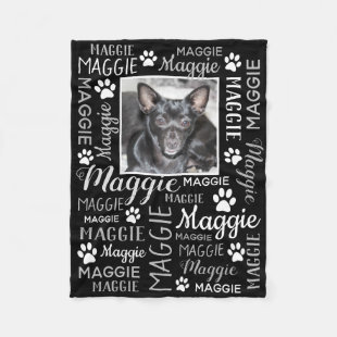 Personalized Photo and Names | Black Dog Blanket