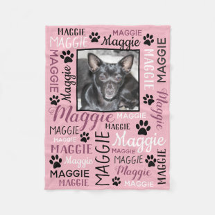 Personalized Photo and Names | Pink Dog Blanket
