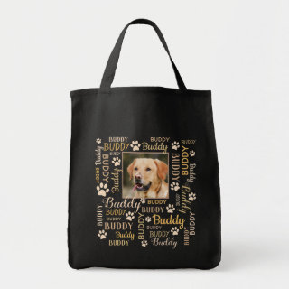 Personalized Photo Names | Brown Dog Tote Bag