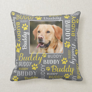 Personalized Photo Names Grey and Yellow Dog Throw Pillow