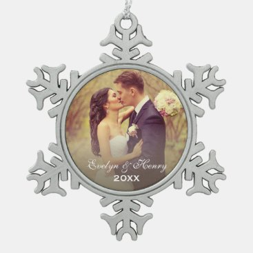 Personalized Photo Ornament | Wedding Monogram