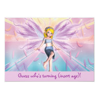Personalized pink blonde fairy birthday card