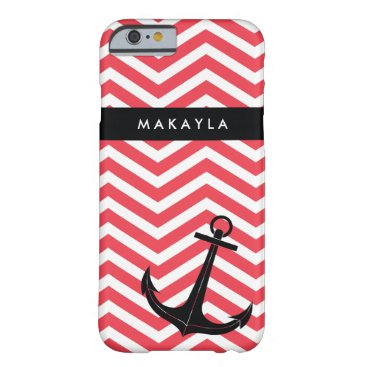 Personalized Pink Chevron with Black Anchor Barely There iPhone 6 Case
