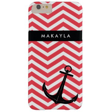 Personalized Pink Chevron with Black Anchor Barely There iPhone 6 Plus Case