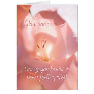 Personalized Pink Gladiola Get Well Card