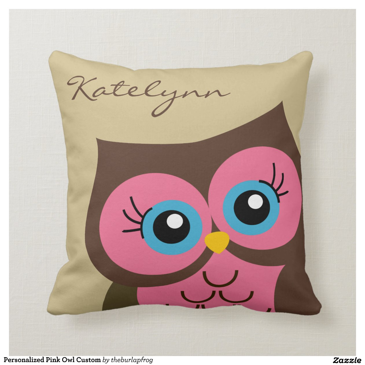 personalized_pink_owl_custom_throw_pillow
