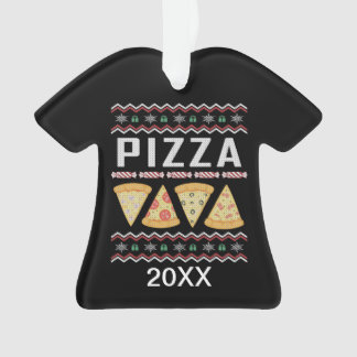 Personalized Pizza Slices Ugly Christmas Sweater Ornament