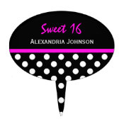 Personalized: Polkadot Sweet 16 Cake Pick