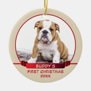 Personalized Puppy 1st Christmas Pet Photo Ceramic Ornament