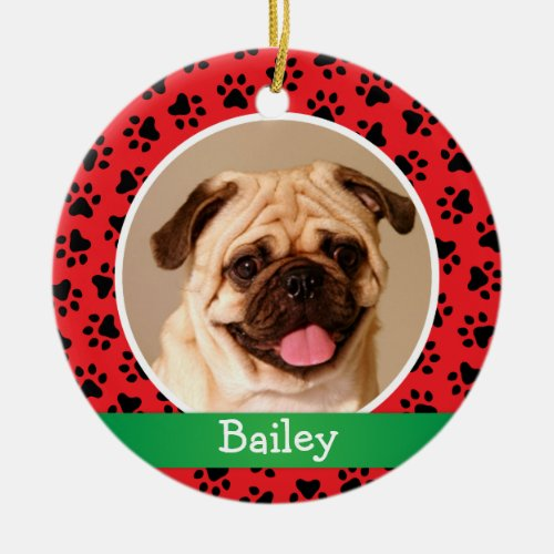 Personalized Puppy Dog Photo | Red Paw Prints Ceramic Ornament