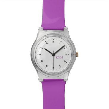 Personalized Purple Initials Wristwatch