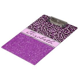Personalized Purple Leopard Print Glitter Clipboard