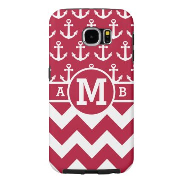 Personalized Red Nautical Anchors Pattern Samsung Galaxy S6 Case