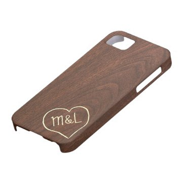 Personalized Red Wood Texture w/ heart & initials iPhone SE/5/5s Case