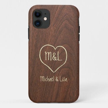 Personalized Red Wood Texture with Heart iPhone 11 Case