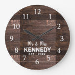 Personalized Rustic Wood Wedding Anniversary Large Clock