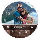 Personalized Rustic Wood Wedding Anniversary Photo Large Clock