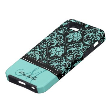 Personalized Teal Blue & Black Damask iPhone SE/5/5s Case