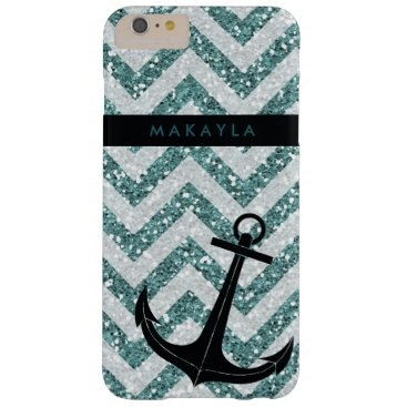 Personalized Teal Glitter Chevron with Anchor Barely There iPhone 6 Plus Case