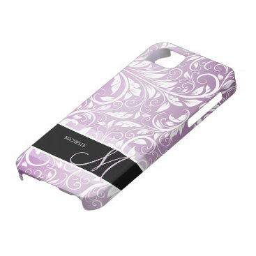 Personalized Thistle Purple & White Floral Damask iPhone SE/5/5s Case