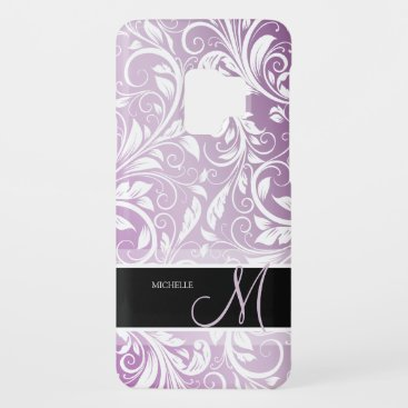 Personalized Thistle Purple & White Floral Damask Case-Mate Samsung Galaxy S9 Case
