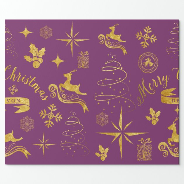 Personalized Vintage Gold Amp Purple Christmas Wrap Wrapping