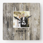 Personalized Wedding Photo Anniversary Rustic Wood Square Wall Clock