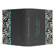 Personalized Zebra Blue Trimmed Binder