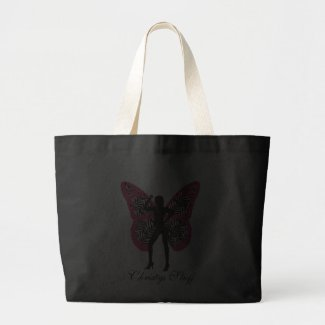 Personalized Zebra Print Butterfly Girl Tote Bag bag