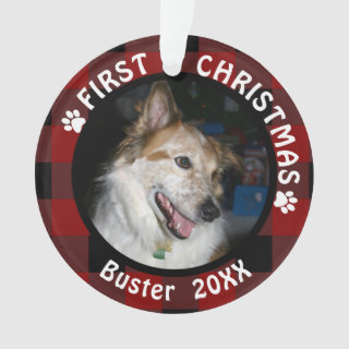 Pet FIRST CHRISTMAS 2-Photo Red & Black Plaid Ornament