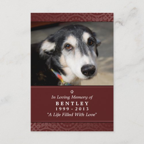 Pet Memorial Card 3.5 x 5 Maroon God Saw You Poem