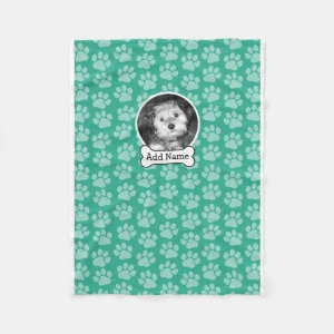Pet Photo with Dog Bone and Paw Prints Green Fleece Blanket