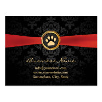 Pet Sitting Gold Paw & Red Ribbon Elegant Damask Postcard