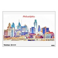 Philadelphia Skyline Color Sketch Wall Decal | Zazzle