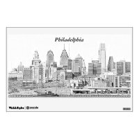 Philadelphia Skyline Sketch Wall Decal | Zazzle.com