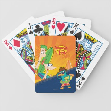 Phineas, Ferb and Agent P Surf Bicycle Playing Cards