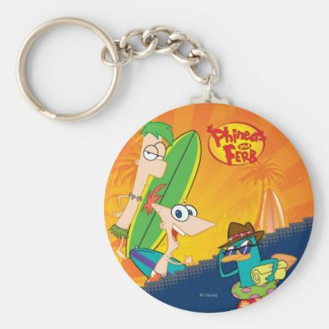 Phineas, Ferb and Agent P Surf Keychain