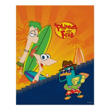 Phineas, Ferb and Agent P Surf Poster