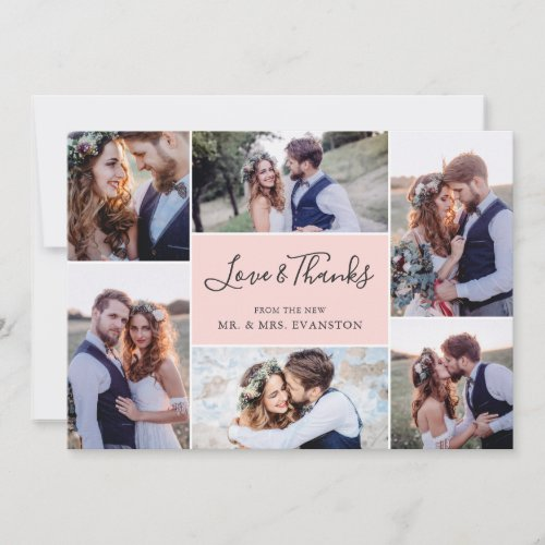 Photo Collage Wedding Thank You Flat Card | Blush